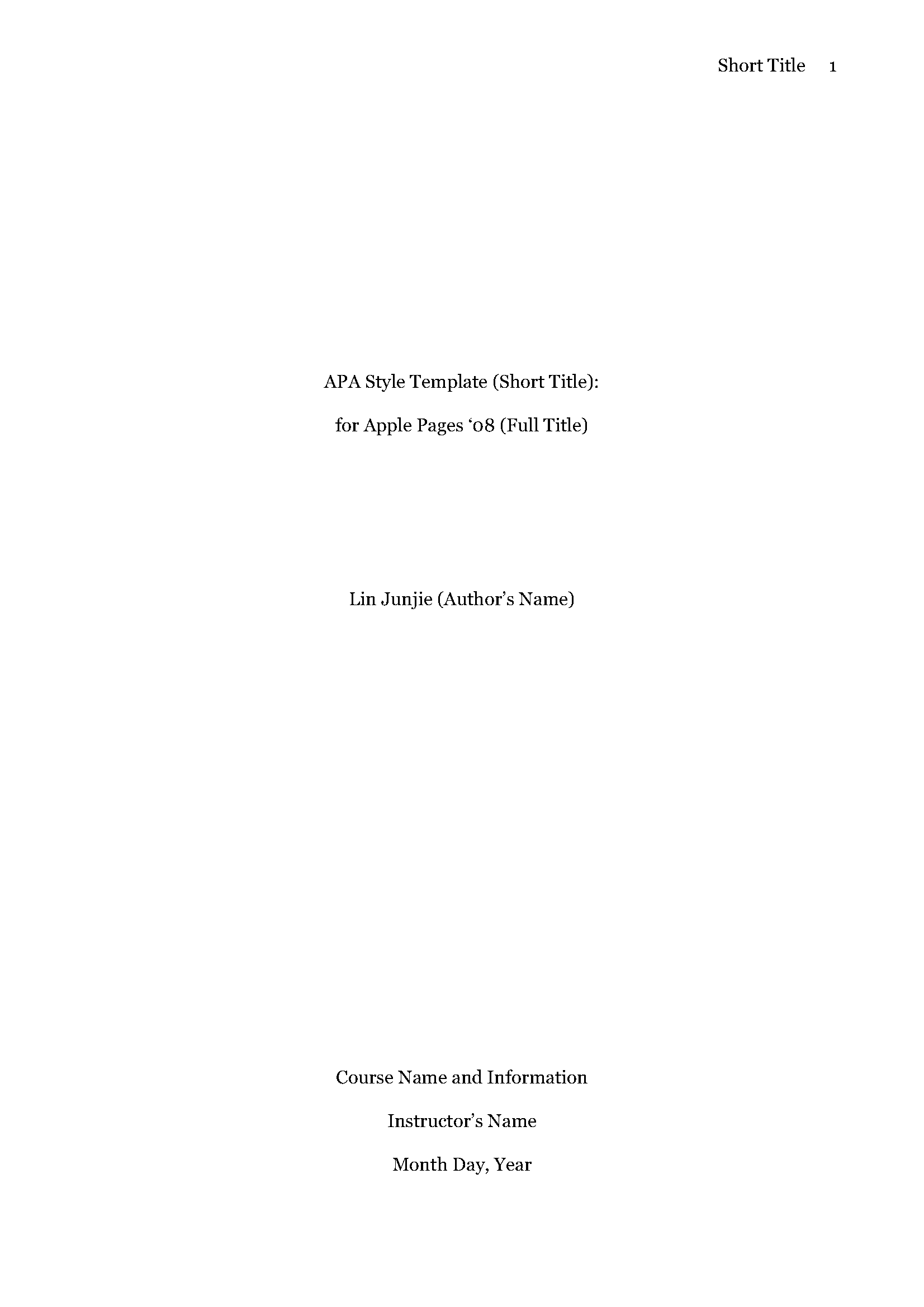 title page for apa format